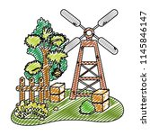 doodle windmill with farm straw ...   Shutterstock .eps vector #1145846147
