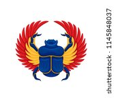 flat vector icon of blue scarab ... | Shutterstock .eps vector #1145848037