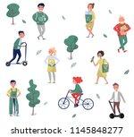 eco friendly people set  man... | Shutterstock .eps vector #1145848277