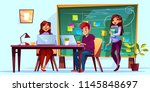 team working in office with... | Shutterstock .eps vector #1145848697