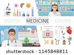 flat medicine elements set with ... | Shutterstock .eps vector #1145848811