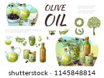cartoon green and black olive... | Shutterstock .eps vector #1145848814