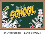 back to school text drawing by... | Shutterstock .eps vector #1145849027