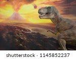 tyrannosaurus rex with volcano...   Shutterstock . vector #1145852237