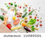healthy organic nutritious diet.... | Shutterstock . vector #1145855201