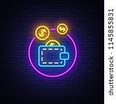wallet neon logo vector. coin... | Shutterstock .eps vector #1145855831