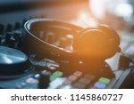 hands of dj tweak various track ... | Shutterstock . vector #1145860727