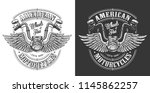 biker emblem with wings and... | Shutterstock .eps vector #1145862257