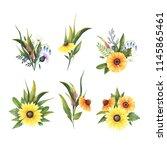 set of watercolor wild flowers... | Shutterstock . vector #1145865461