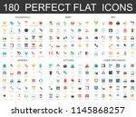 180 modern flat icons set of... | Shutterstock . vector #1145868257