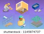home repair isometric template. ... | Shutterstock .eps vector #1145874737