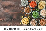 assortment of different snack... | Shutterstock . vector #1145876714