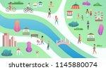 top view of city public park... | Shutterstock .eps vector #1145880074