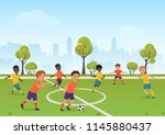 kids soccer game. boys playing... | Shutterstock .eps vector #1145880437