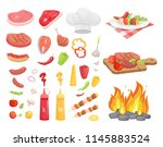 bbq set  meat and spice vector. ... | Shutterstock .eps vector #1145883524