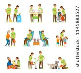 volunteers and charity set... | Shutterstock .eps vector #1145883527