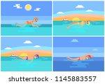 backstroke and butterfly set...   Shutterstock .eps vector #1145883557
