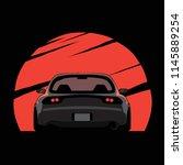 cartoon japan tuned car on red... | Shutterstock .eps vector #1145889254