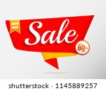 sale banner red up to 80  off | Shutterstock .eps vector #1145889257