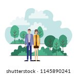 young couple outside scene... | Shutterstock .eps vector #1145890241