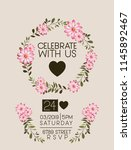 celebrate with us card floral... | Shutterstock .eps vector #1145892467
