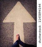 arrow choice concept. female... | Shutterstock . vector #1145894144