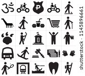 set of 25 icons such as hiking  ...