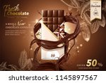 premium chocolate ads with... | Shutterstock .eps vector #1145897567