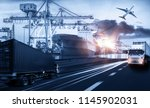 logistics and transportation of ... | Shutterstock . vector #1145902031