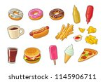 set junk food icon. cup cola ... | Shutterstock .eps vector #1145906711