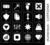 set of 16 icons such as heart ...