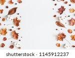autumn composition. frame made... | Shutterstock . vector #1145912237