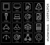 set of 16 icons such as gear ...