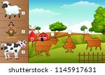 set of matching farm animal game | Shutterstock .eps vector #1145917631