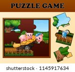pigs in the garden with puzzle... | Shutterstock .eps vector #1145917634