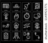 set of 16 icons such as usb...