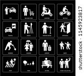 set of 16 icons such as ticket...