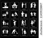 set of 16 icons such as work ...