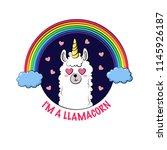 cute cartoon llama  doodle... | Shutterstock .eps vector #1145926187