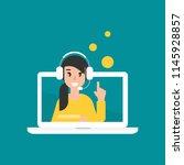 happy operator on computer... | Shutterstock .eps vector #1145928857