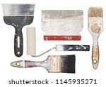 isolated used painting tools.... | Shutterstock . vector #1145935271