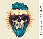 color angry skull with hairstyle | Shutterstock .eps vector #1145935901