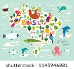 vector illustration with map of ... | Shutterstock .eps vector #1145946881