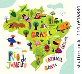 vector map of brazil. brazilian ... | Shutterstock .eps vector #1145946884