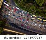 rush hour traffic jam aerial...   Shutterstock . vector #1145977367