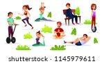 vector cartoon men  women doing ...   Shutterstock .eps vector #1145979611