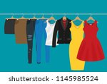 flat vector racks with clothes... | Shutterstock .eps vector #1145985524