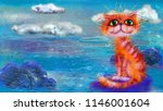 red cat and blue landscape with ... | Shutterstock . vector #1146001604