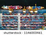 overhead view of shipping... | Shutterstock . vector #1146003461