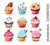 set of colorful tasty isolated... | Shutterstock .eps vector #1146007031